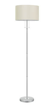 Eglo 88566A - 3x60W 1x100W Floor Lamp w/ Brushsed Aluminum Finish & White Fabric Shade