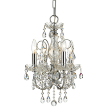 Crystorama 3224-CH-CL-MWP - Imperial 4 Light Clear Crystal Chrome Mini Chandelier