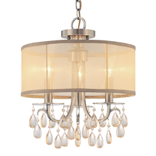 Crystorama 5623-AB - Hampton 3 Light Brass Etruscan Crystal Drum Shade Chandelier