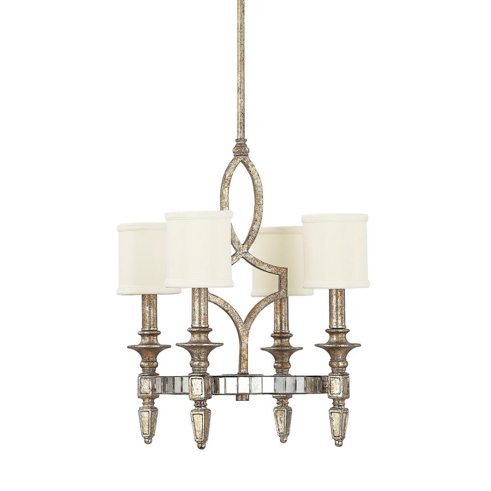 Four light silver and gold leaf with antique mirrors up chandelier four light silver and gold leaf with antique mirrors up chandelier arubaitofo Image collections