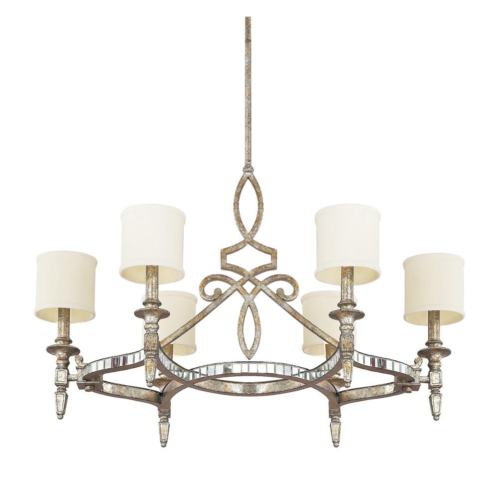 Six Light Silver And Gold Leaf With Antique Mirrors Up Chandelier - Six Light Silver And Gold Leaf With Antique Mirrors Up Chandelier
