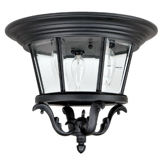 Three Light Black Outdoor Flush Mount