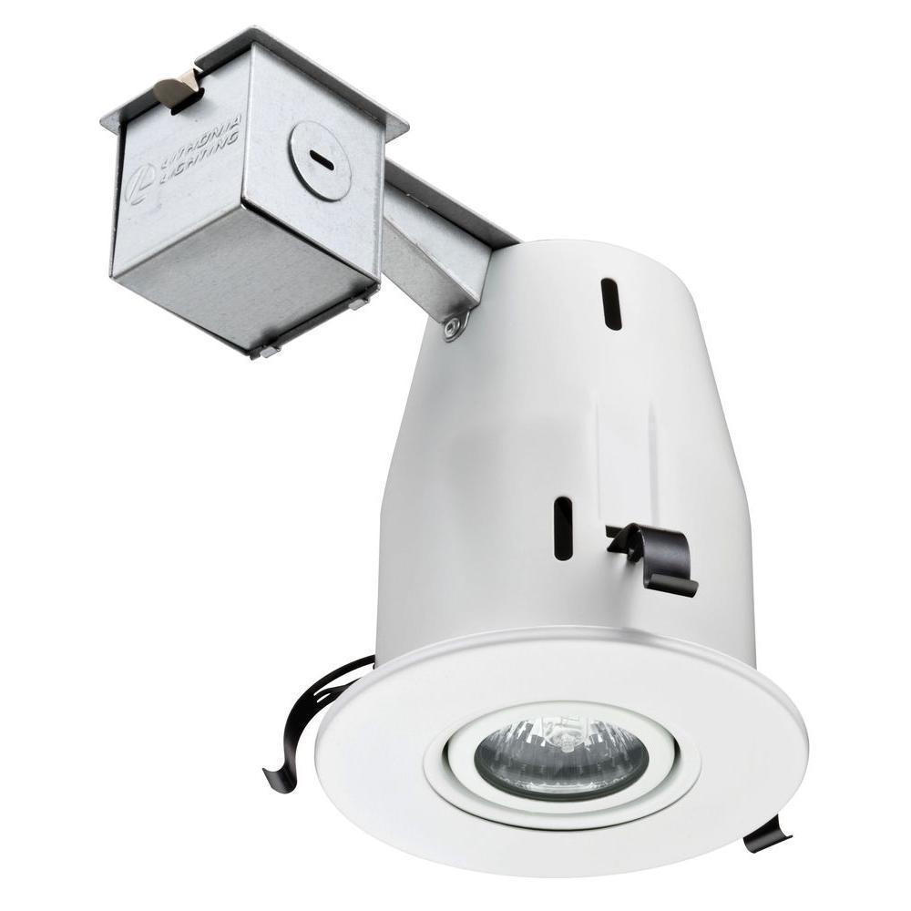 4 in matte white 3000k led gimbal recessed lighting kit 224v1e