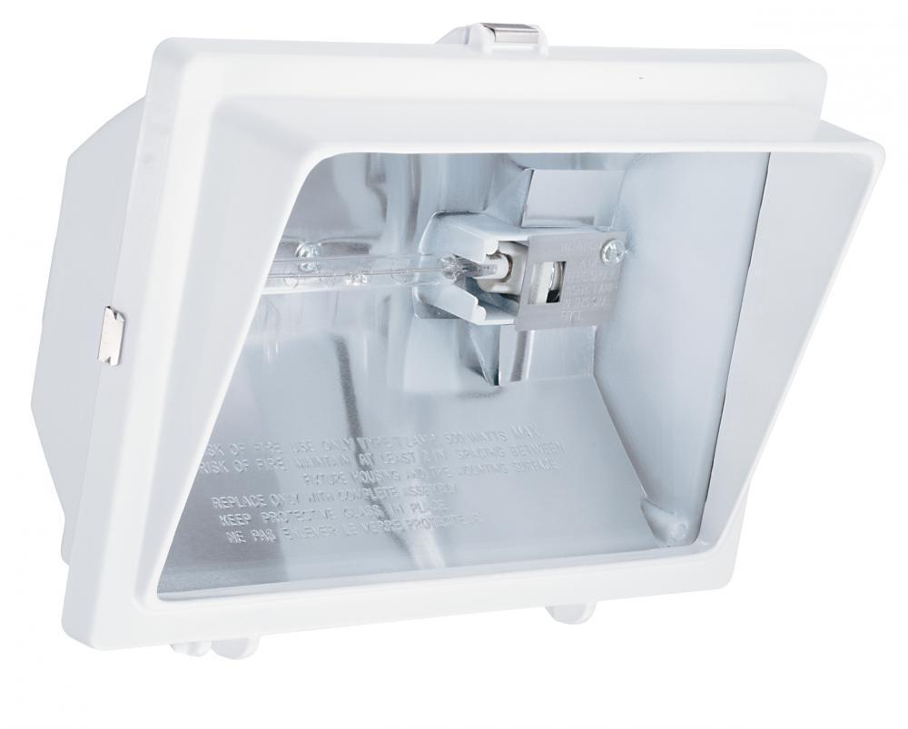 1 Light Outdoor White Quartz Halogen Floodlight With Visor