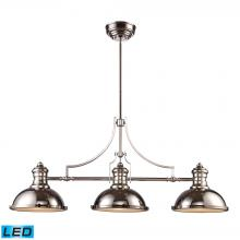 ELK Lighting 66115-3-LED - Chadwick 3-Light Island Light in Polished Nickel with Matching Shades - Includes LED Bulbs