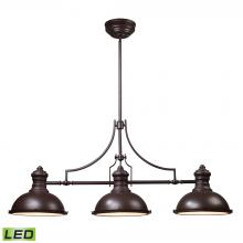 ELK Lighting 66135-3-LED - Chadwick 3-Light Island Light in Oiled Bronze with Matching Shade - Includes LED Bulbs