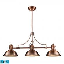 ELK Lighting 66145-3-LED - Chadwick 3-Light Island Light in Antique Copper with Matching Shade - Includes LED Bulbs