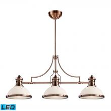 ELK Lighting 66245-3-LED - Chadwick 3-Light Island Light in Antique Copper with White Glass - Includes LED Bulbs